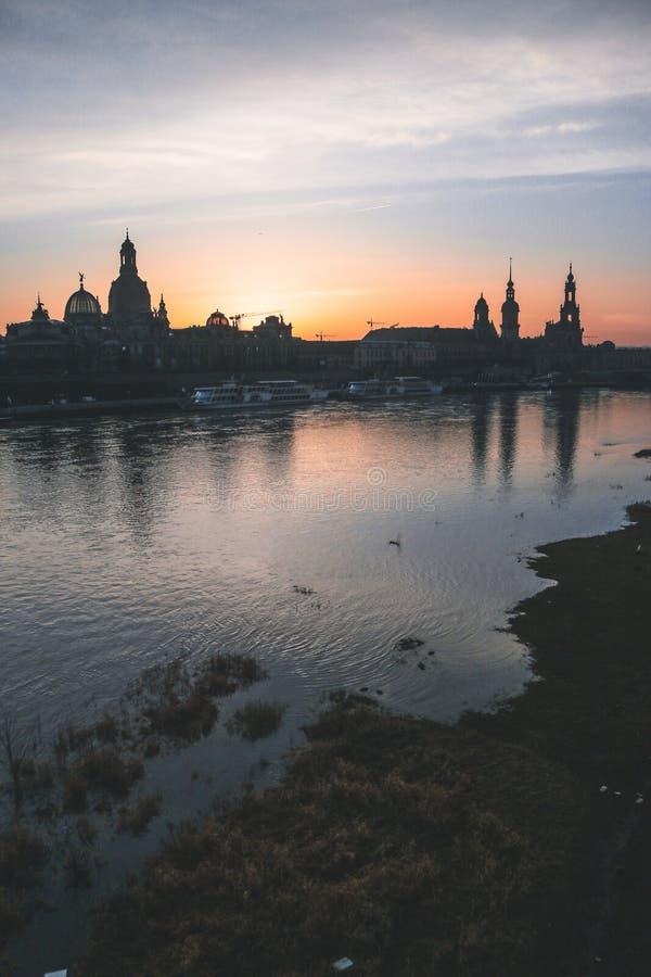 Zonsondergang in Dresden royalty-vrije stock foto