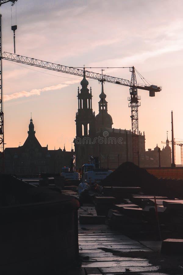 Zonsondergang in Dresden stock fotografie