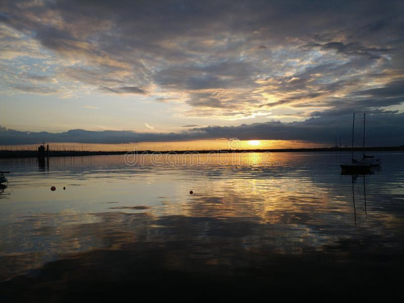 Zonsondergang in Dublin stock afbeelding
