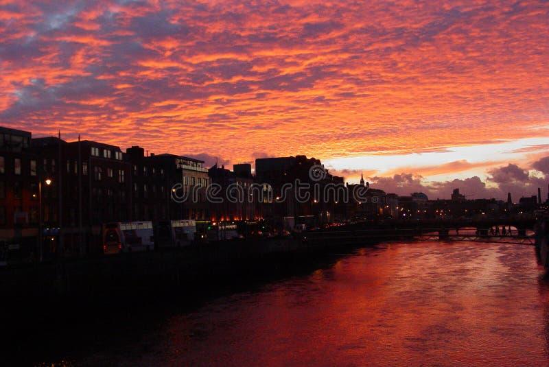 Zonsondergang in Dublin royalty-vrije stock foto