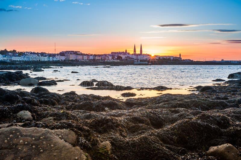 Zonsondergang in Dublin, Ierland royalty-vrije stock foto's