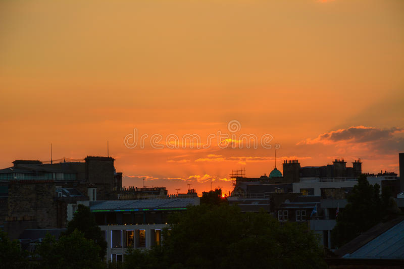 Zonsondergang, Edinburgh royalty-vrije stock afbeeldingen