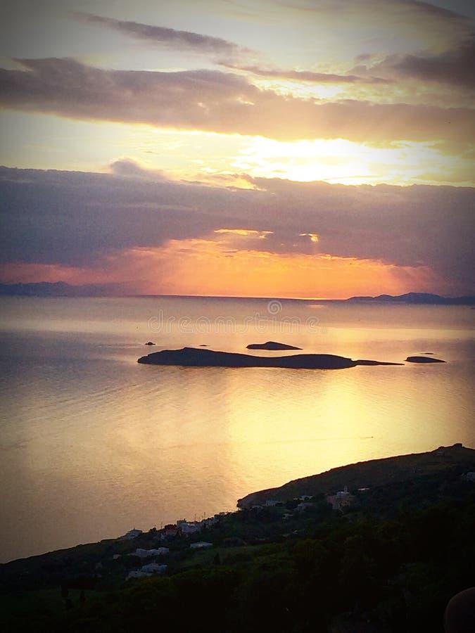 Zonsondergang in een Grieks eiland royalty-vrije stock foto's