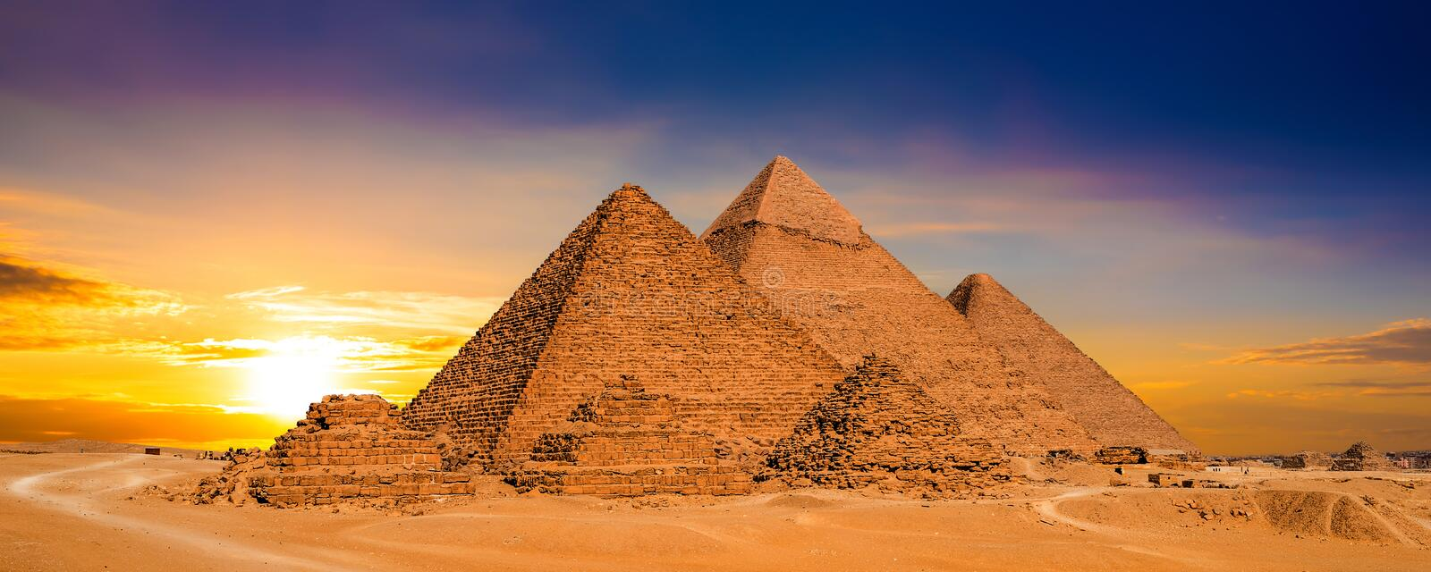 Zonsondergang in Egypte royalty-vrije stock fotografie