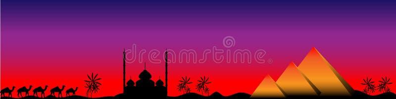 Zonsondergang in Egypte, panorama stock illustratie