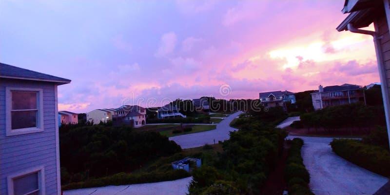 Zonsondergang in Emerald Isle stock foto's
