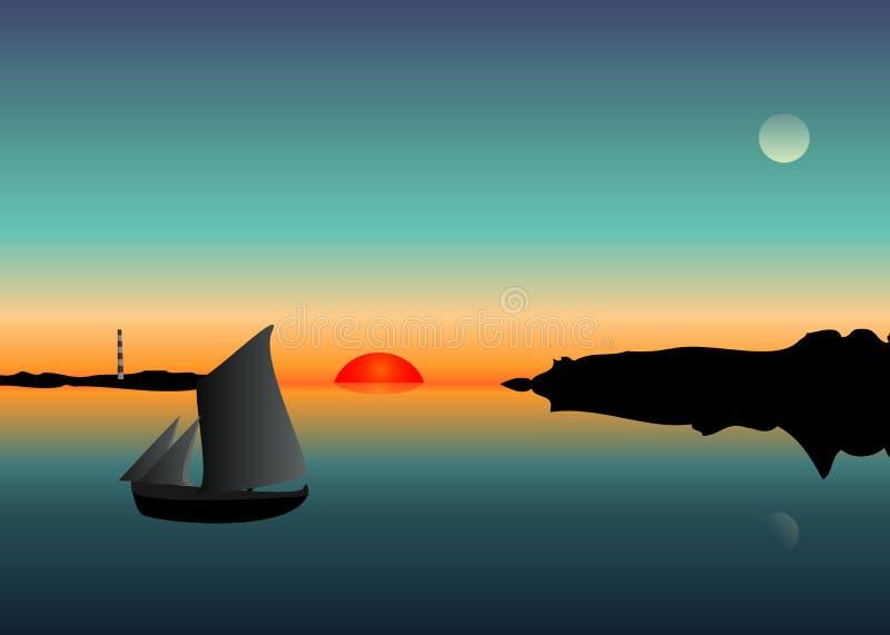 Zonsondergang en boot op de rivier royalty-vrije illustratie