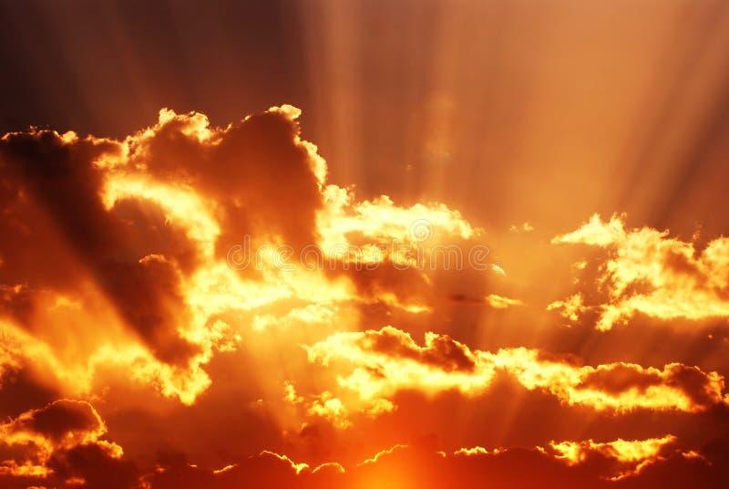 Zonsondergang en cloudscape royalty-vrije stock afbeelding