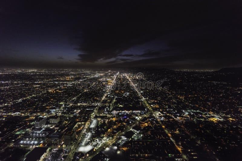 Zonsondergang en de Nachtantenne van Hollywood Blvds Los Angeles stock fotografie