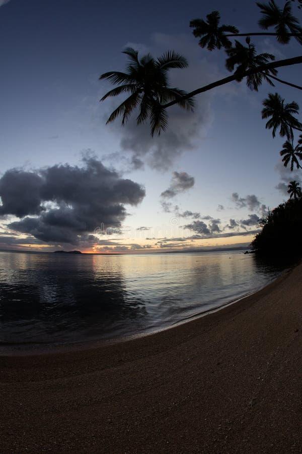 Zonsondergang en Kokosnotenpalmen op Tropisch Eiland royalty-vrije stock afbeelding