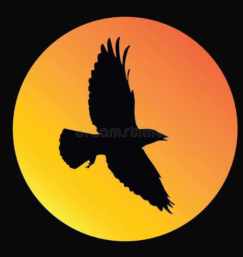 Zonsondergang en vogel royalty-vrije illustratie