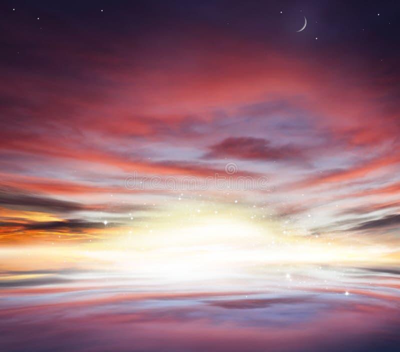 Zonsondergang en zonsopgang in de hemel De Achtergrond van de Ramadan stock fotografie