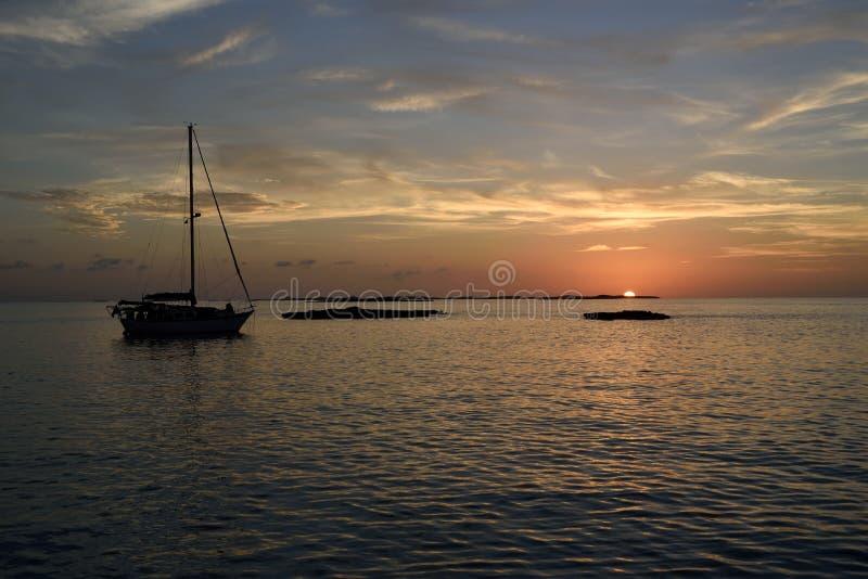 Zonsondergang in Exumas royalty-vrije stock afbeeldingen