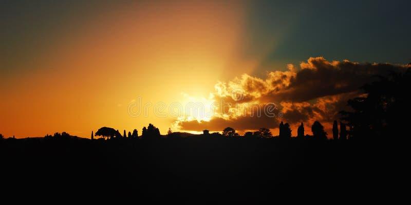 Zonsondergang in Florence Toneelmenings retro foto Italië stock fotografie