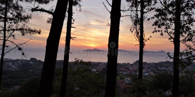 Zonsondergang forestal Coruxo parque, Cies-eilandenachtergrond royalty-vrije stock afbeeldingen