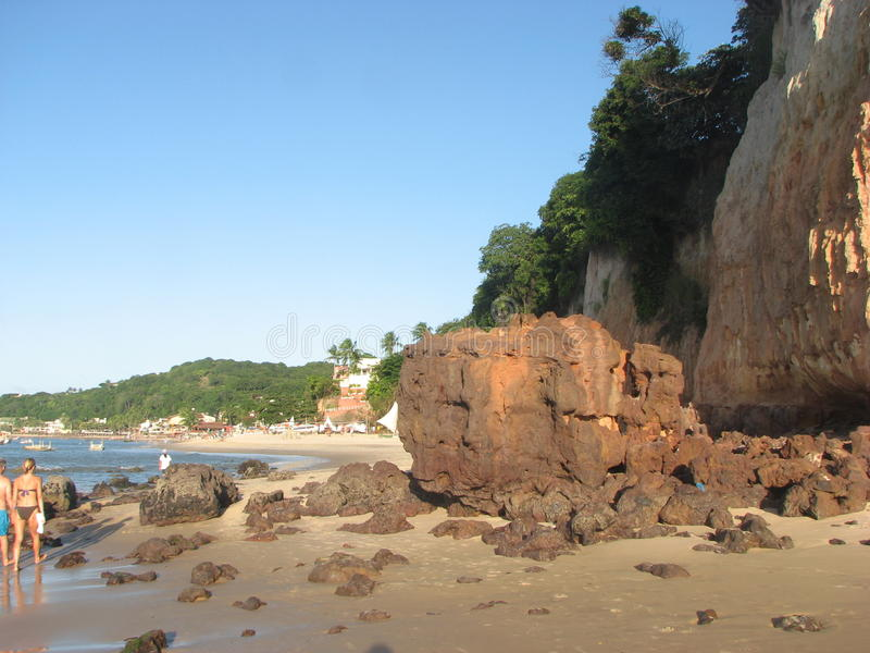 Zonsondergang in geboorte-RN kust, Brazilië royalty-vrije stock foto's