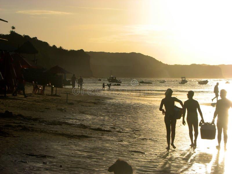 Zonsondergang in geboorte-RN kust, Brazilië stock afbeeldingen