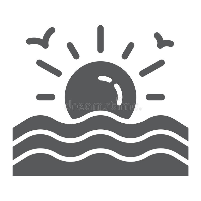 Zonsondergang glyph pictogram, zonsopgang en oceaan, zonteken, vectorafbeeldingen, een stevig patroon op een witte achtergrond royalty-vrije illustratie