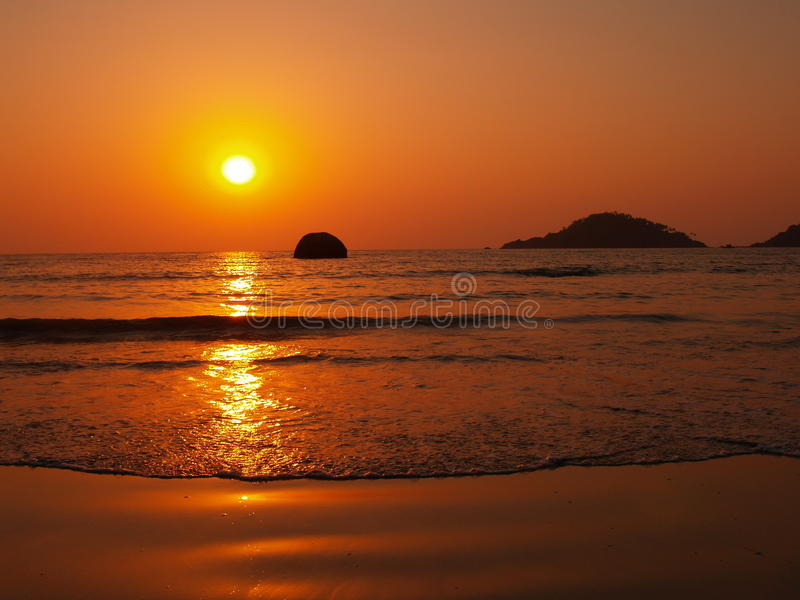Zonsondergang in Goa stock foto