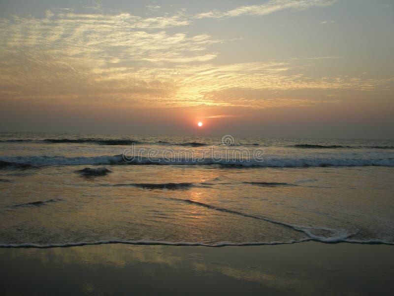 Zonsondergang in Goa stock afbeelding