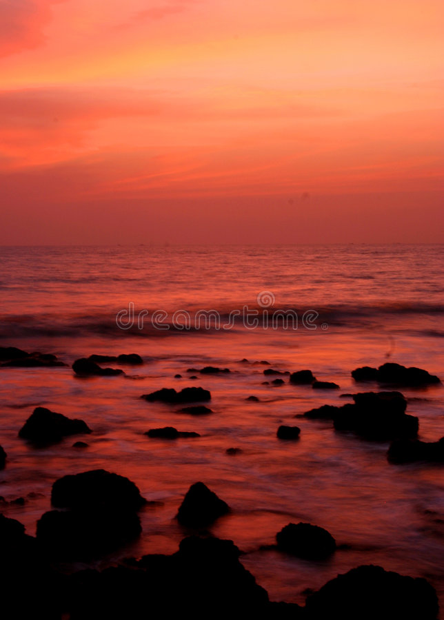Zonsondergang in Goa, India. stock afbeeldingen