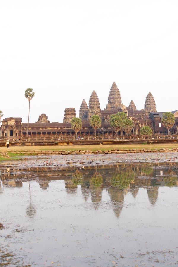 Zonsondergang, gopuratorens van Angkor Wat royalty-vrije stock foto