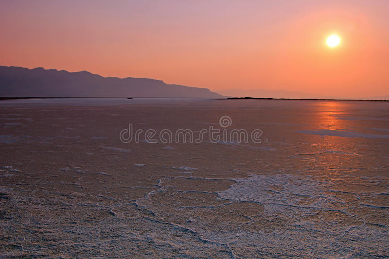 Zonsondergang, Great Salt Lake, Utah. royalty-vrije stock fotografie