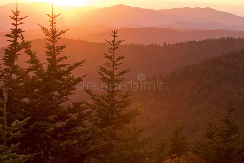 Zonsondergang in Great Smoky Mountains stock afbeeldingen