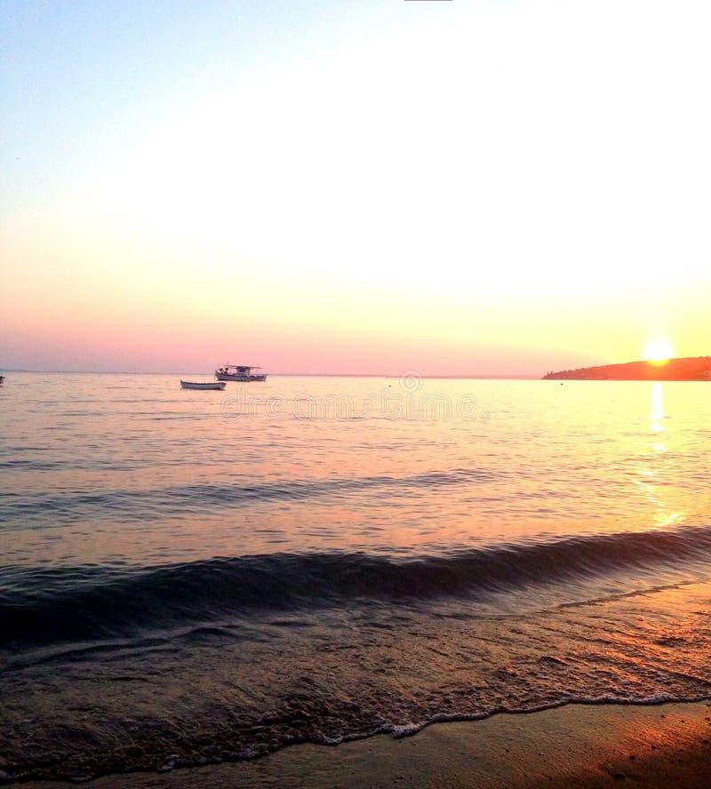 Zonsondergang in Griekenland stock foto's