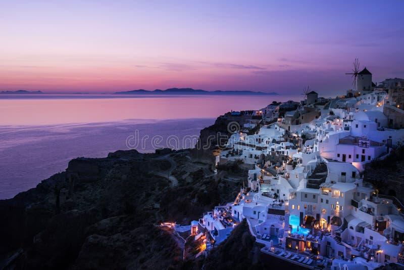 Zonsondergang, Griekenland, Cyclade-Eiland royalty-vrije stock foto's