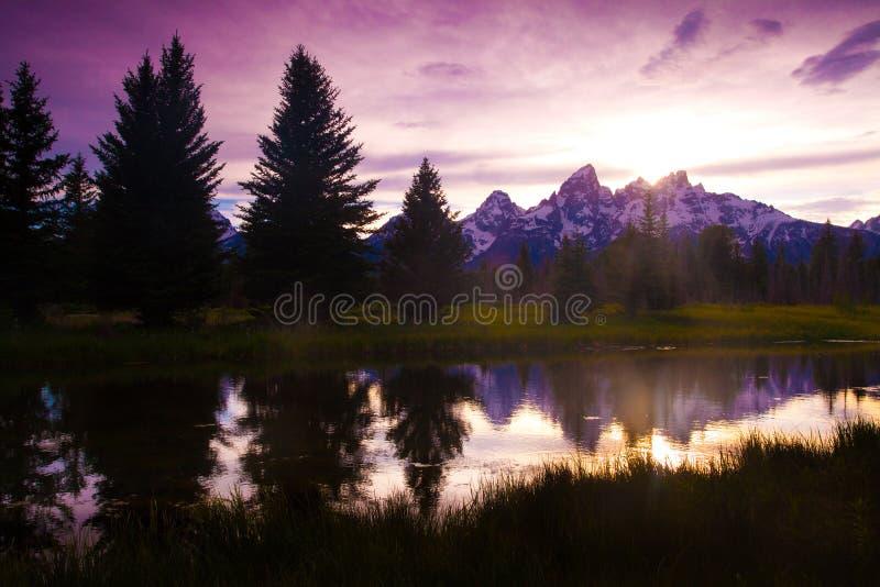 Zonsondergang in Grote Tetons royalty-vrije stock foto