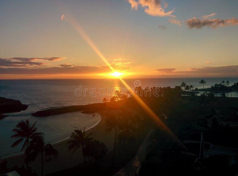 Zonsondergang in Hawaï royalty-vrije stock afbeeldingen