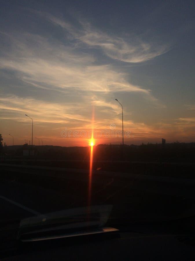 Zonsondergang in Heilige Petersburg royalty-vrije stock foto's