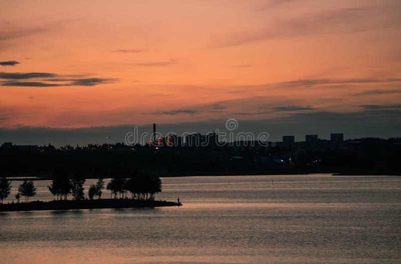 Zonsondergang in Helsinki royalty-vrije stock foto