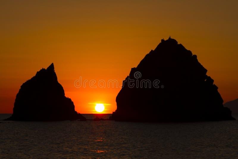 Zonsondergang in het Egeïsche Overzees, Griekenland stock fotografie