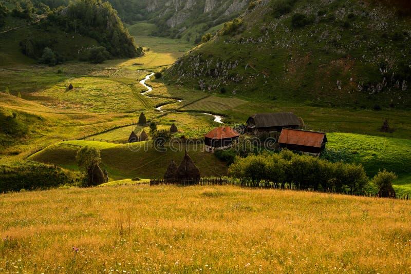 Zonsondergang in het hart van Transylvanian-bergen, Fundatura Ponorului, Roemenië royalty-vrije stock foto's