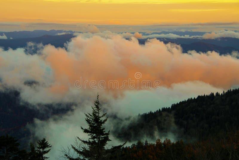 Zonsondergang in het Nationale Park van Great Smoky Mountains royalty-vrije stock foto