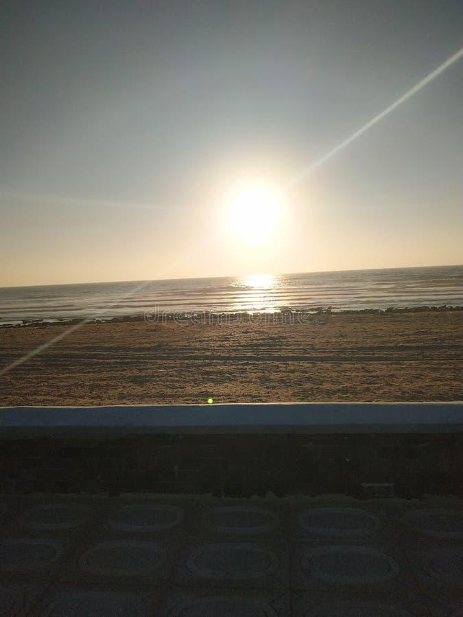 Zonsondergang in het strand van Cabo Bojador stock afbeeldingen