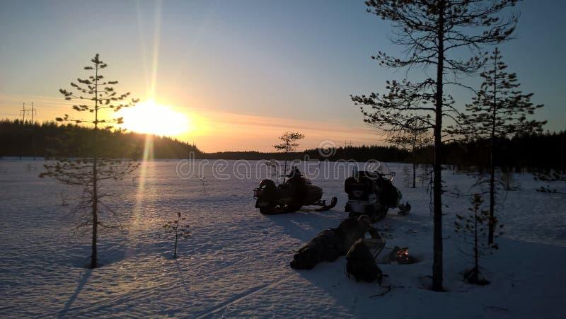 Zonsondergang in Hiivasuo stock afbeeldingen