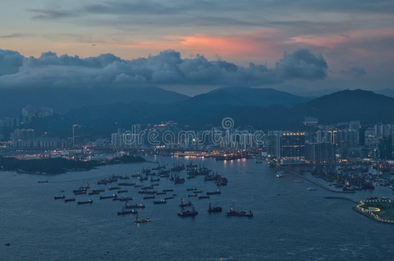Zonsondergang in Hong Kong royalty-vrije stock afbeelding