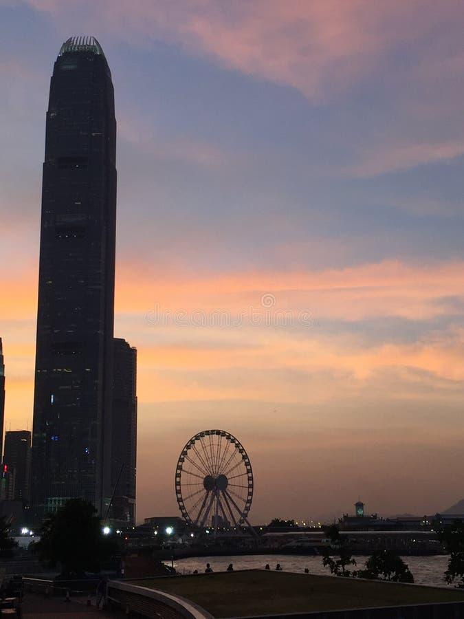 Zonsondergang in Hongkong royalty-vrije stock foto's