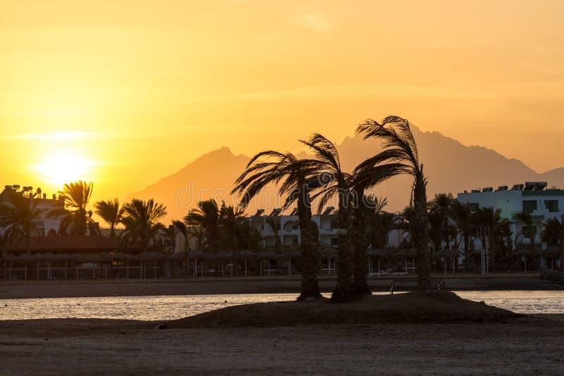 Zonsondergang in Hurghada, Egypte stock fotografie