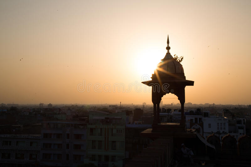 Zonsondergang in India stock foto