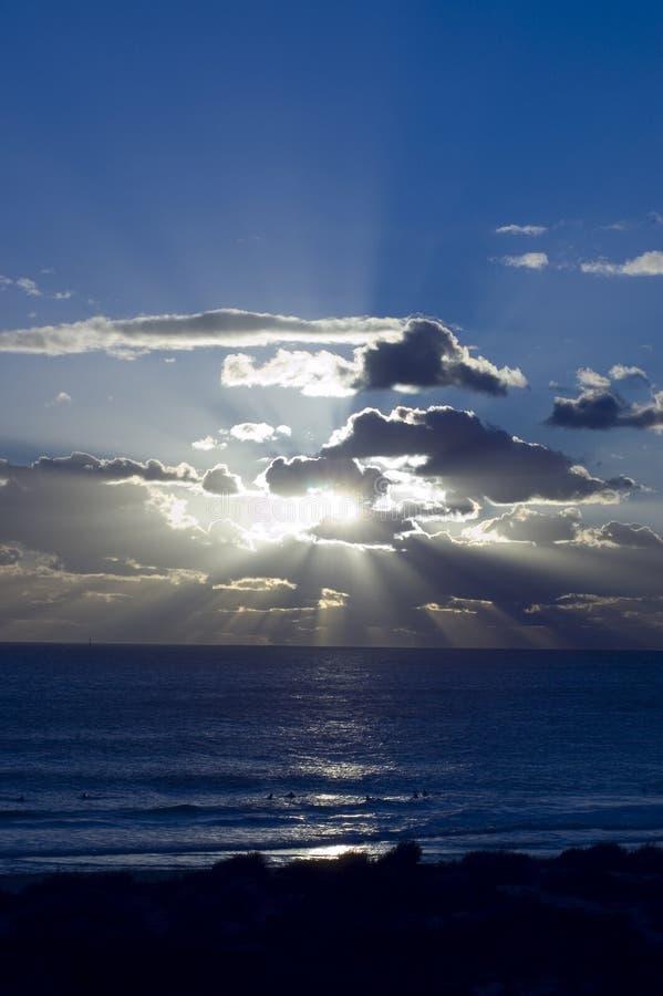 Zonsondergang in Indische Oceaan royalty-vrije stock foto's