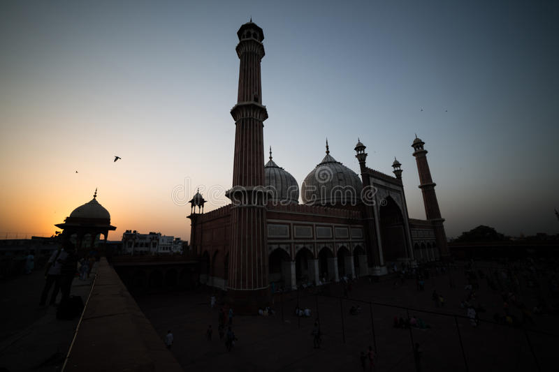 Zonsondergang in Jama Masjiid, Delhi, India stock afbeeldingen