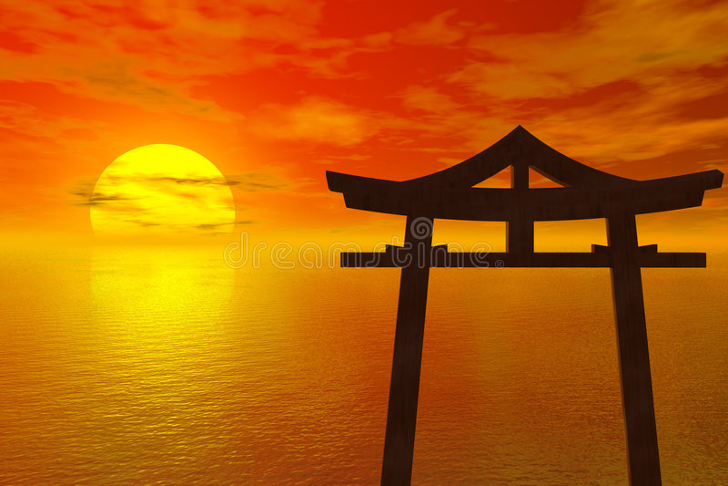Zonsondergang in Japan stock illustratie