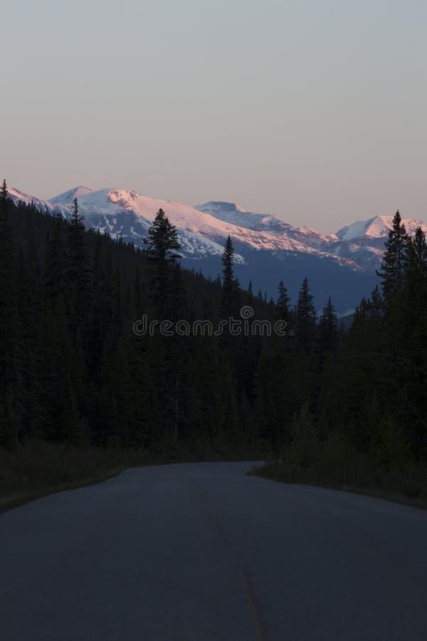 Zonsondergang in Jasper National Park stock afbeelding