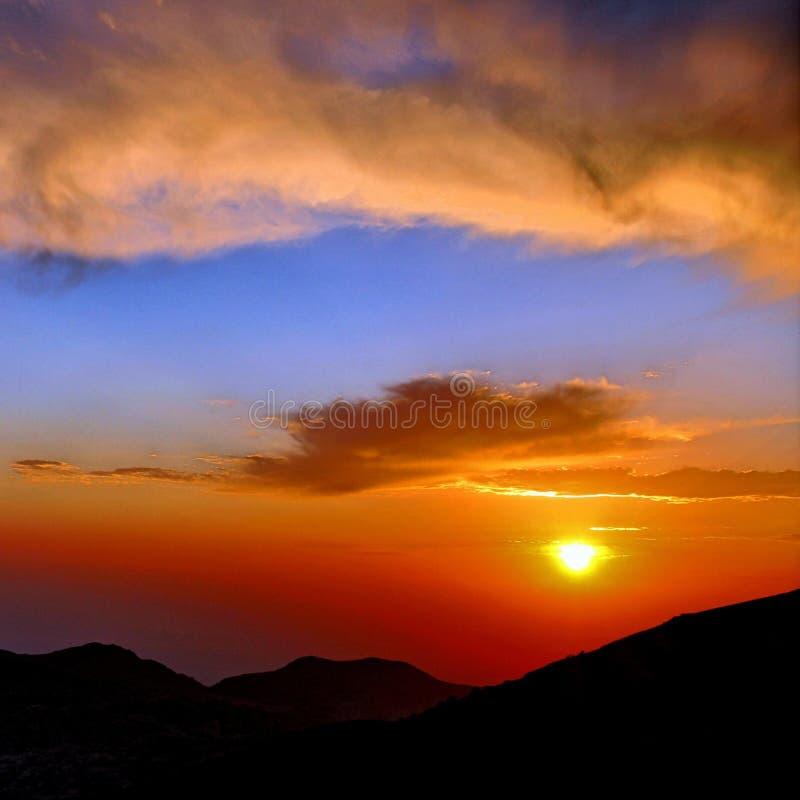 Zonsondergang in Jordanië royalty-vrije stock afbeelding