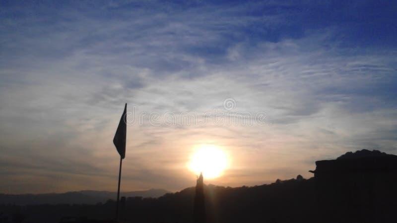 Zonsondergang in Kashmir, de Hemel royalty-vrije stock foto's