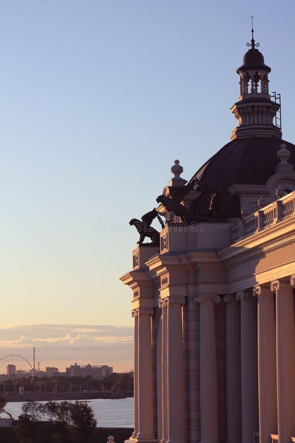 Zonsondergang in Kazan stock afbeelding